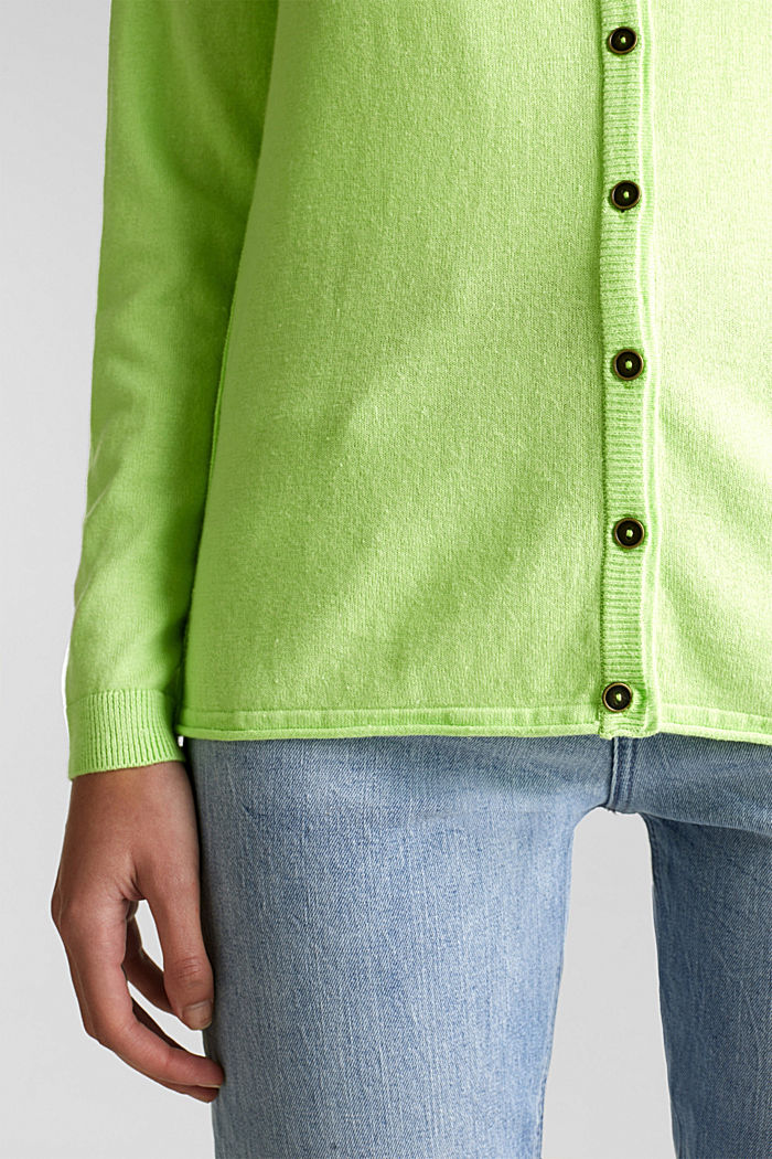 Cotton blend cardigan, LIME YELLOW, detail image number 4