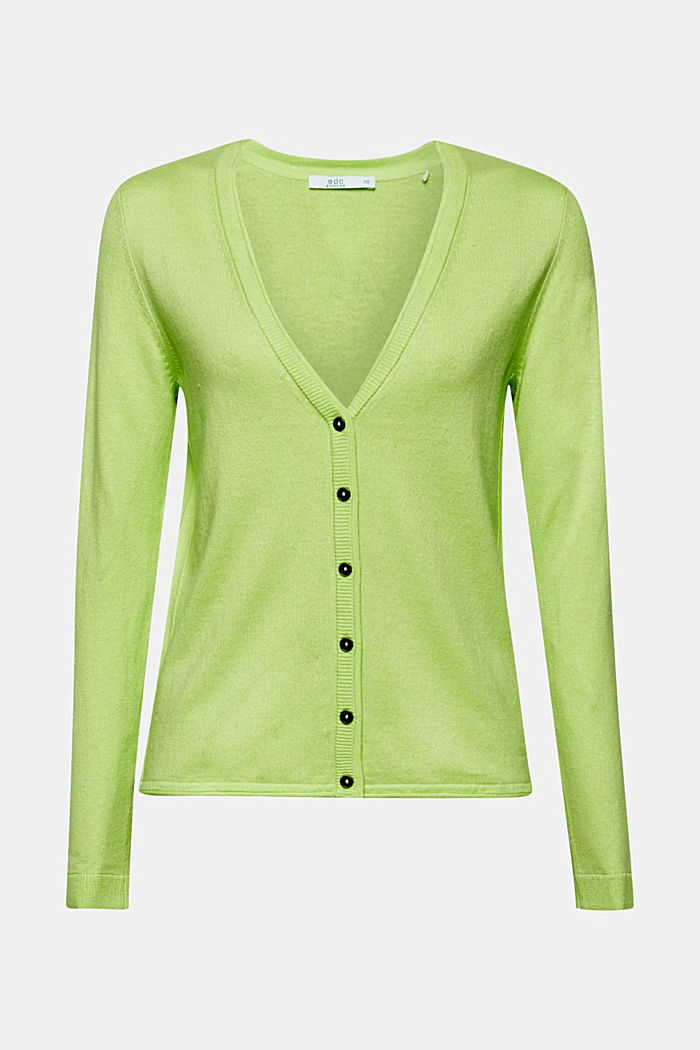 Cotton blend cardigan, LIME YELLOW, detail image number 6