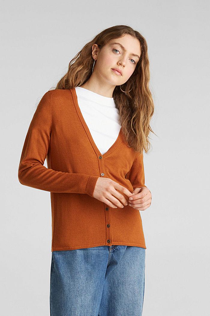 Cotton blend cardigan, CINNAMON, detail image number 0