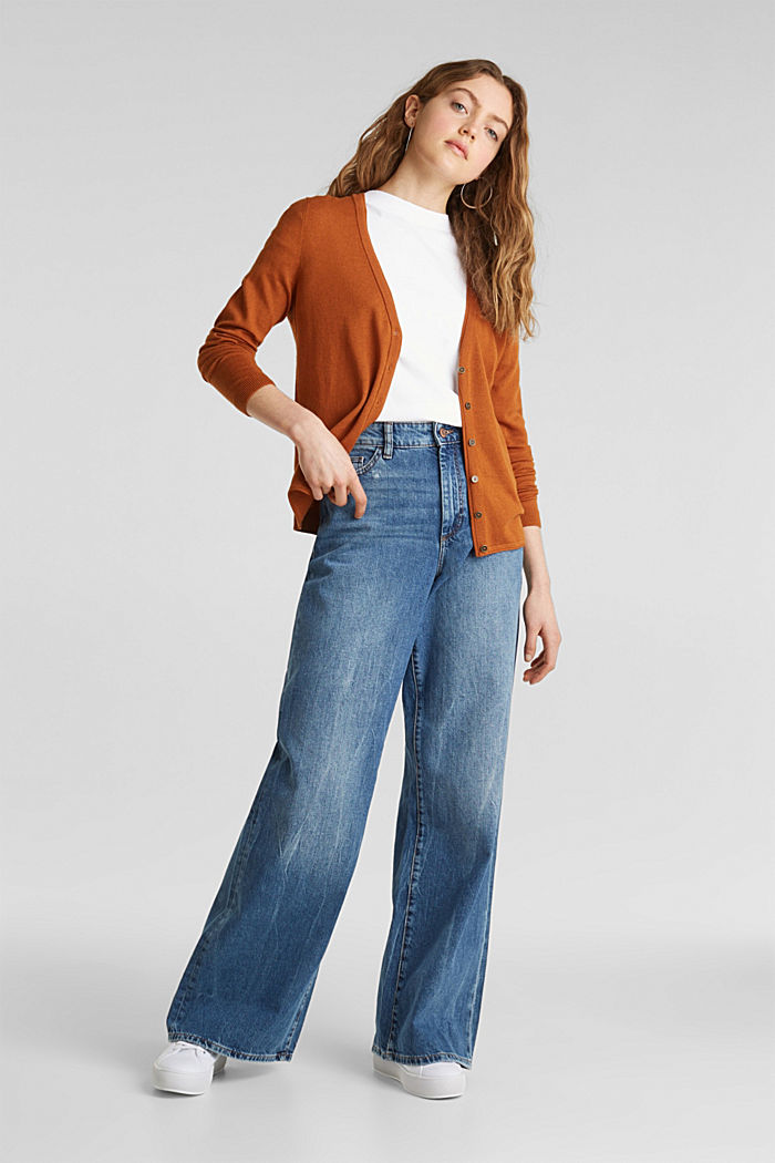 Cotton blend cardigan, CINNAMON, detail image number 1