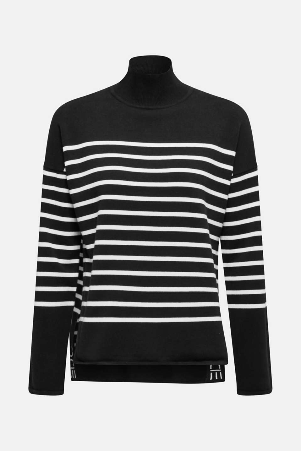 Jumper with a band collar and side slits, BLACK, detail image number 7