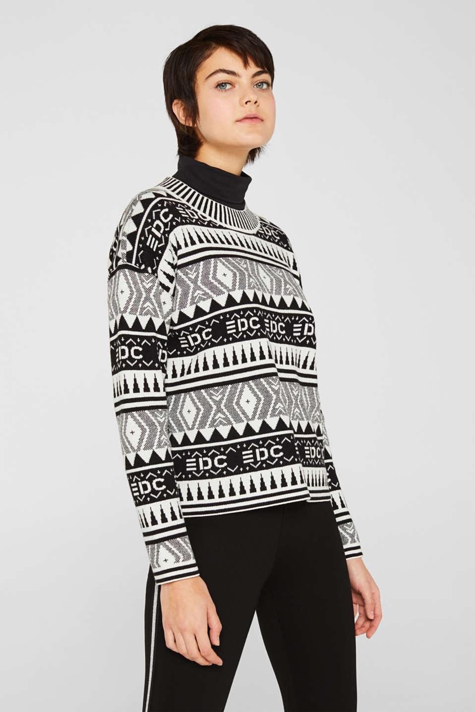 Boxy jacquard jumper, 100% cotton, BLACK, detail image number 0