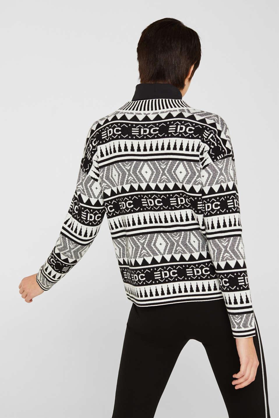 Boxy jacquard jumper, 100% cotton, BLACK, detail image number 3