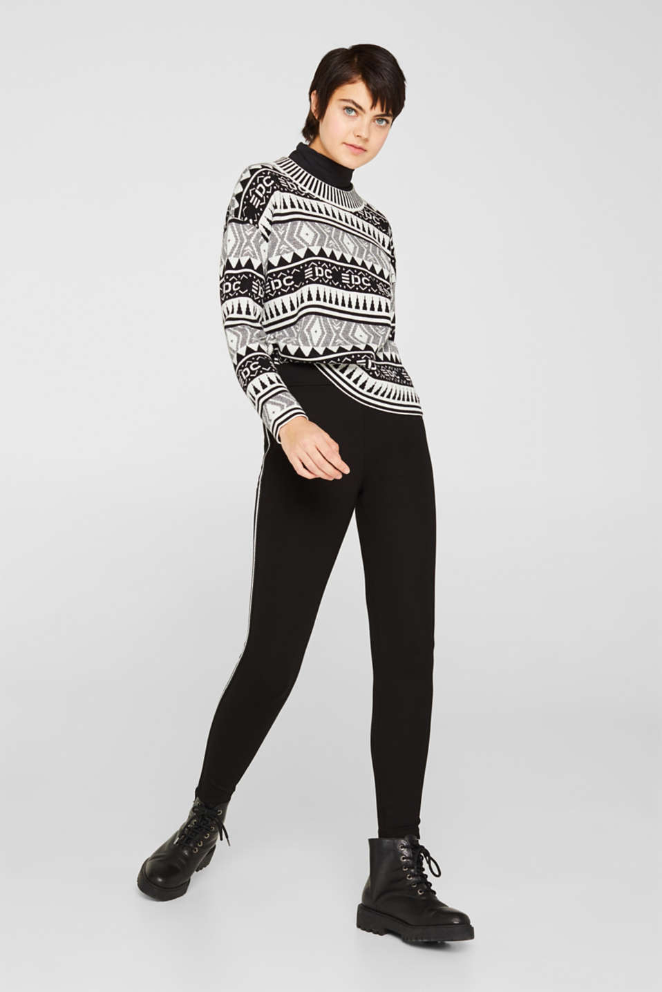 Boxy jacquard jumper, 100% cotton, BLACK, detail image number 5