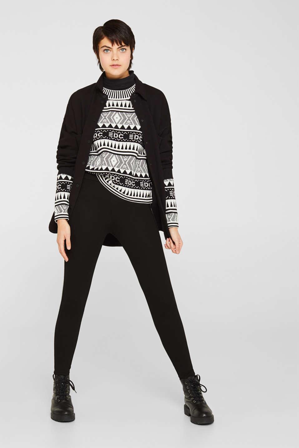 Boxy jacquard jumper, 100% cotton, BLACK, detail image number 1