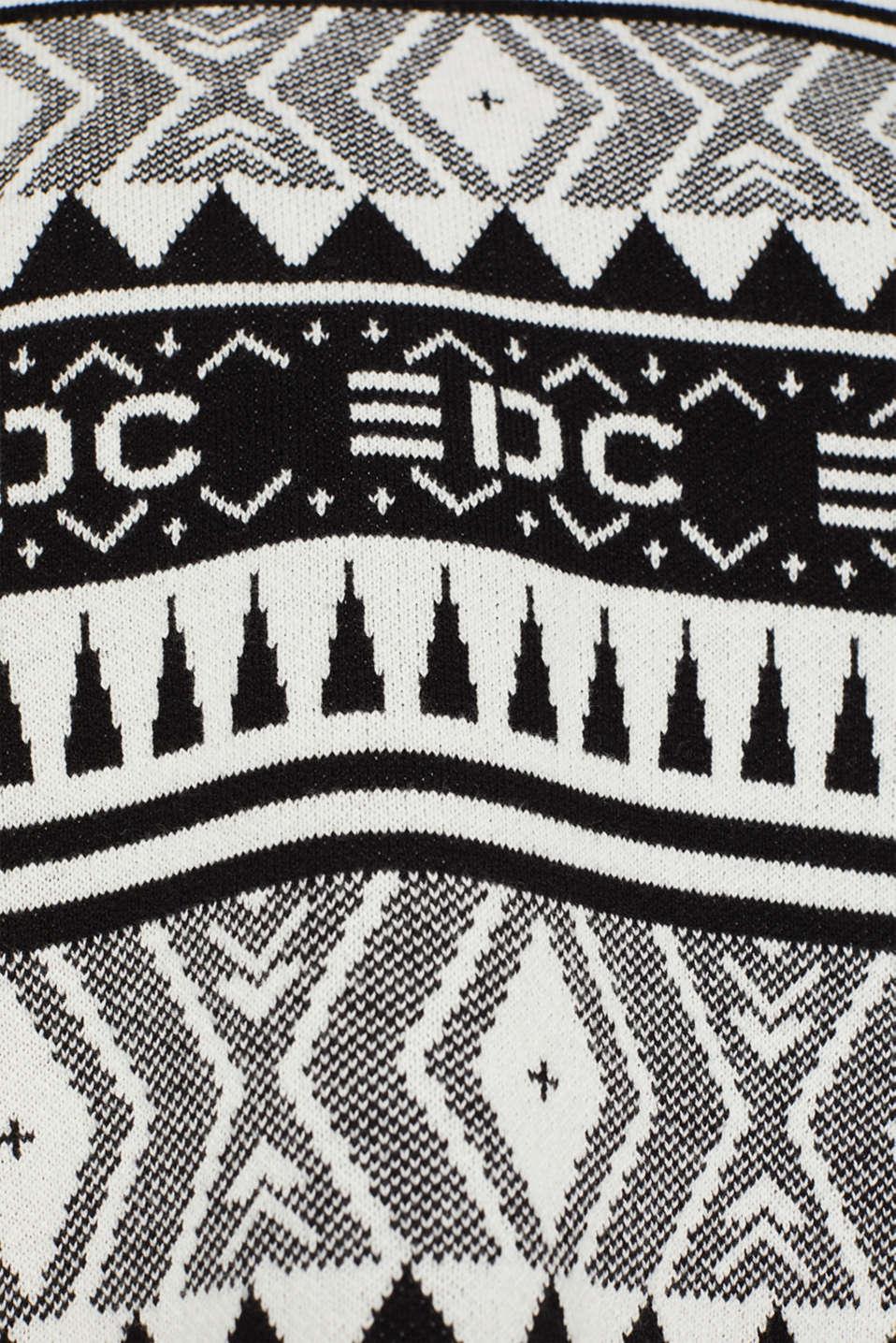 Boxy jacquard jumper, 100% cotton, BLACK, detail image number 4