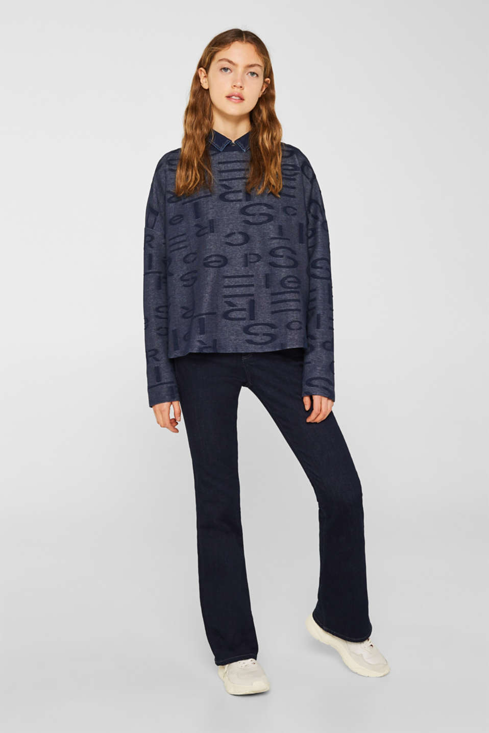 Sweatshirt with a logo jacquard pattern, NAVY, detail