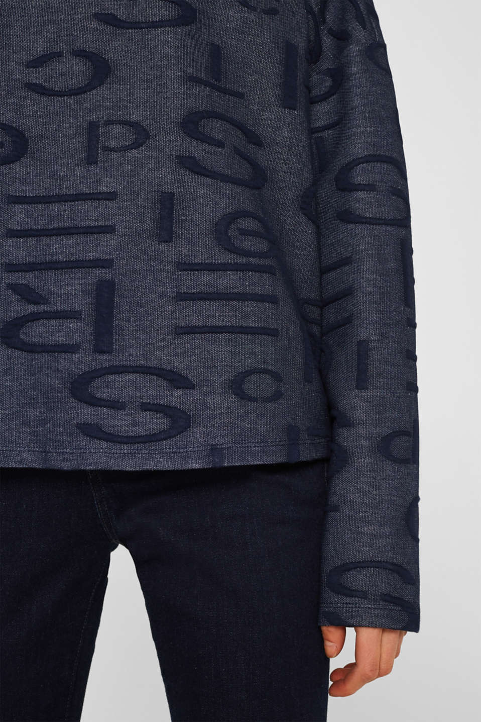 Sweatshirt with a logo jacquard pattern, NAVY, detail image number 2