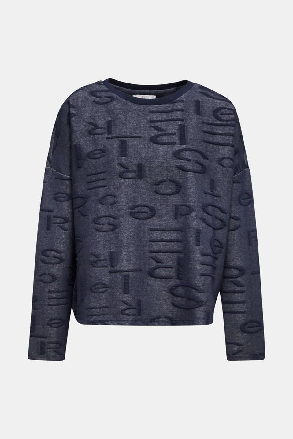 Sweatshirt with a logo jacquard pattern, NAVY, detail image number 5