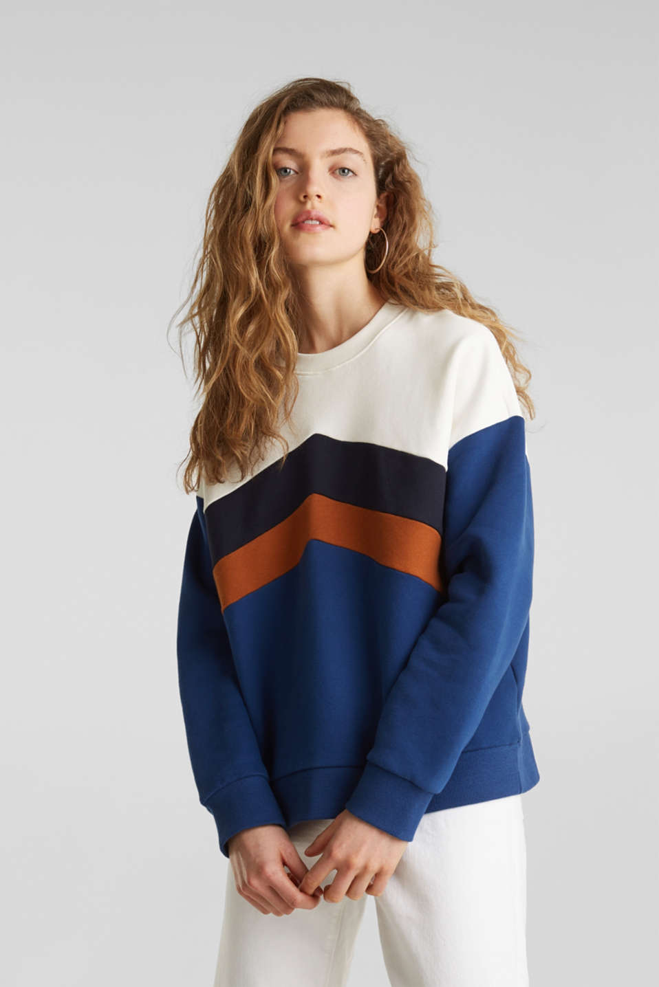 edc Sweatshirt med colorblock look i Esprits Online Shop