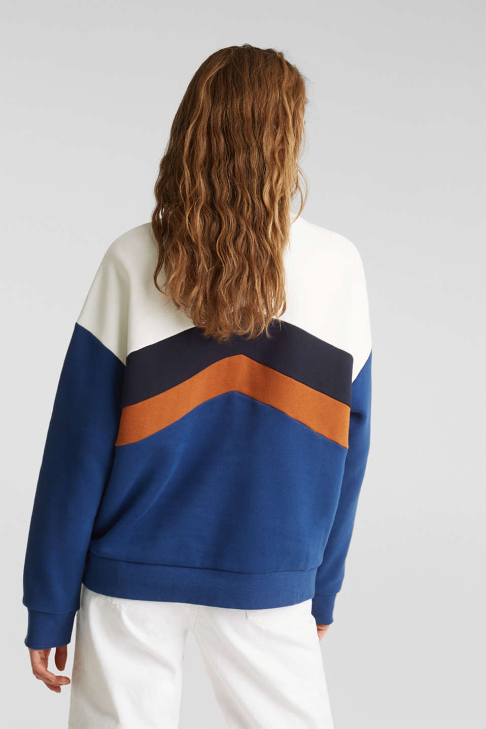 Sweatshirt with a colour block design, DARK BLUE, detail image number 3