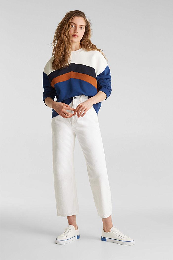 Sweatshirt with a colour block design, DARK BLUE, detail image number 1
