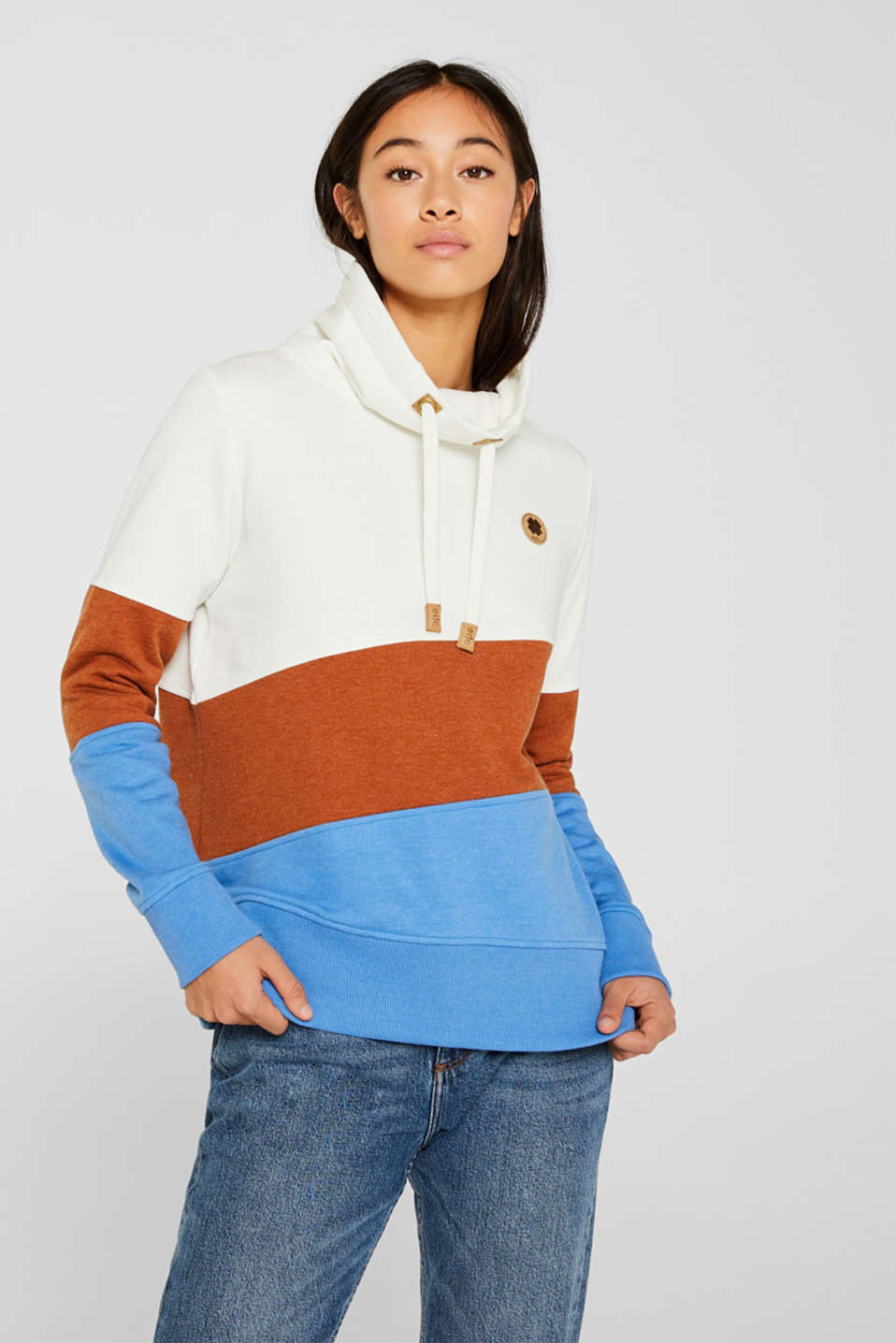 edc - Colour block sweatshirt with a funnel collar