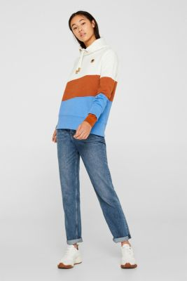 Colour block sweatshirt with a funnel collar, OFF WHITE, detail