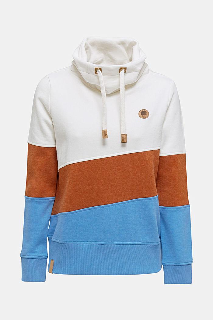 Sweatshirt met colour block en col, OFF WHITE, detail image number 0