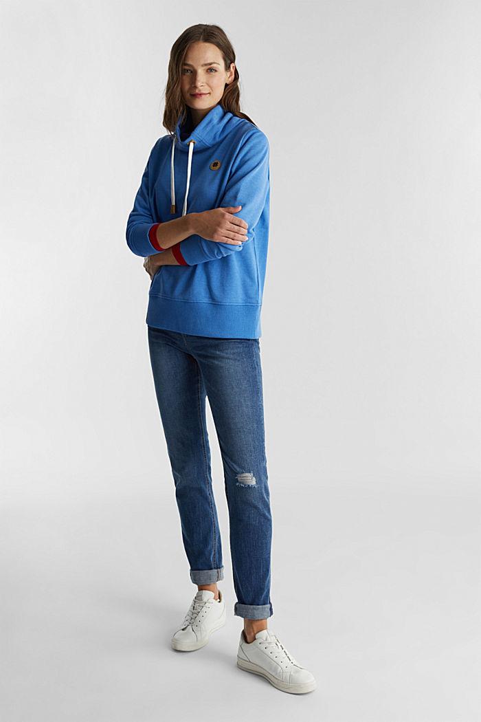 Sweatshirt mit Tunnelkragen, BRIGHT BLUE, detail image number 1