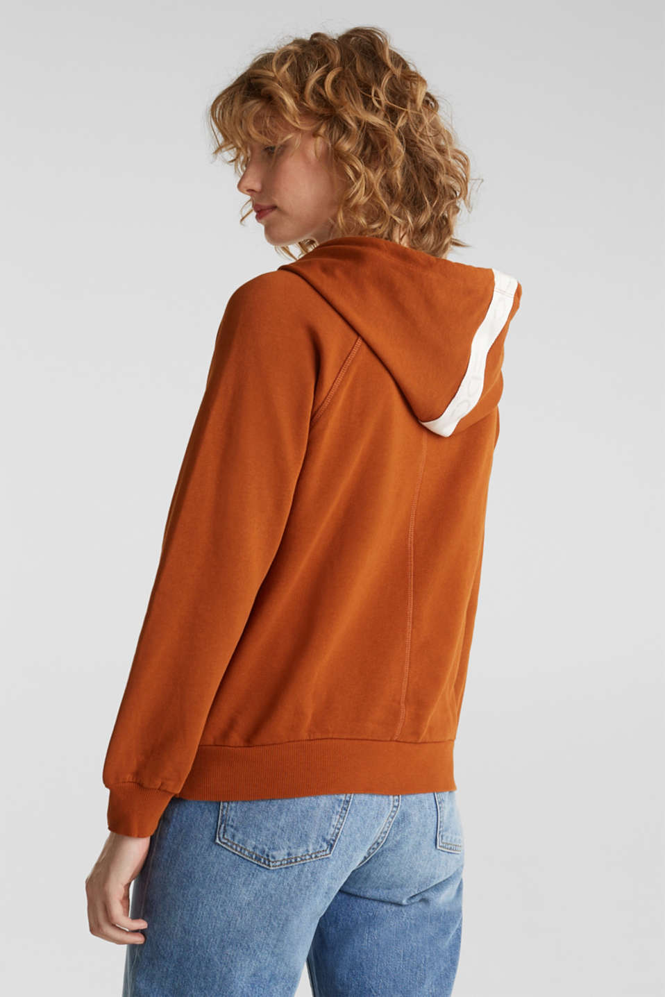 Logo tape detail hoodie, 100% cotton, CINNAMON, detail image number 3