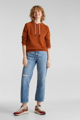 Logo tape detail hoodie, 100% cotton, CINNAMON, detail