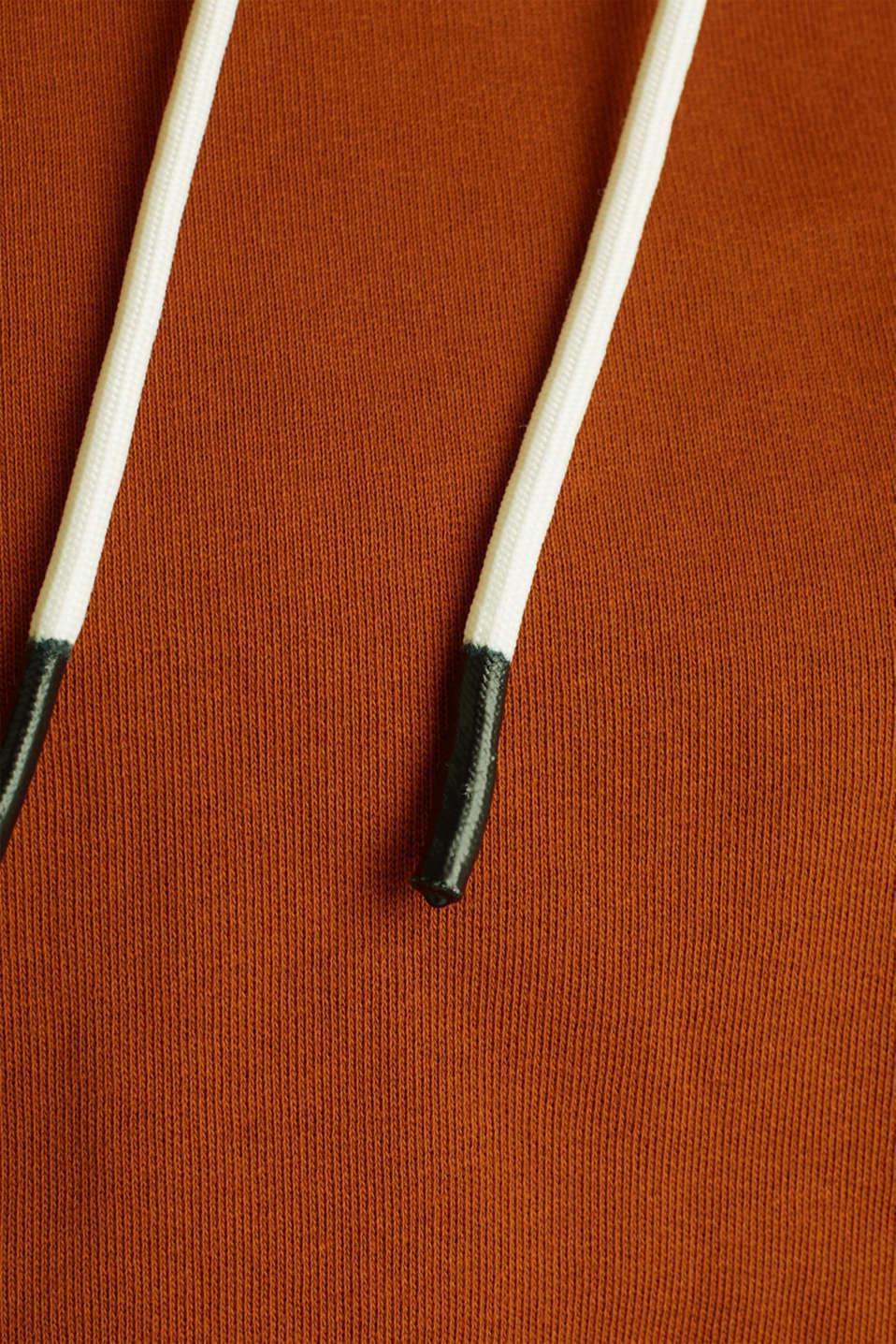 Logo tape detail hoodie, 100% cotton, CINNAMON, detail image number 4