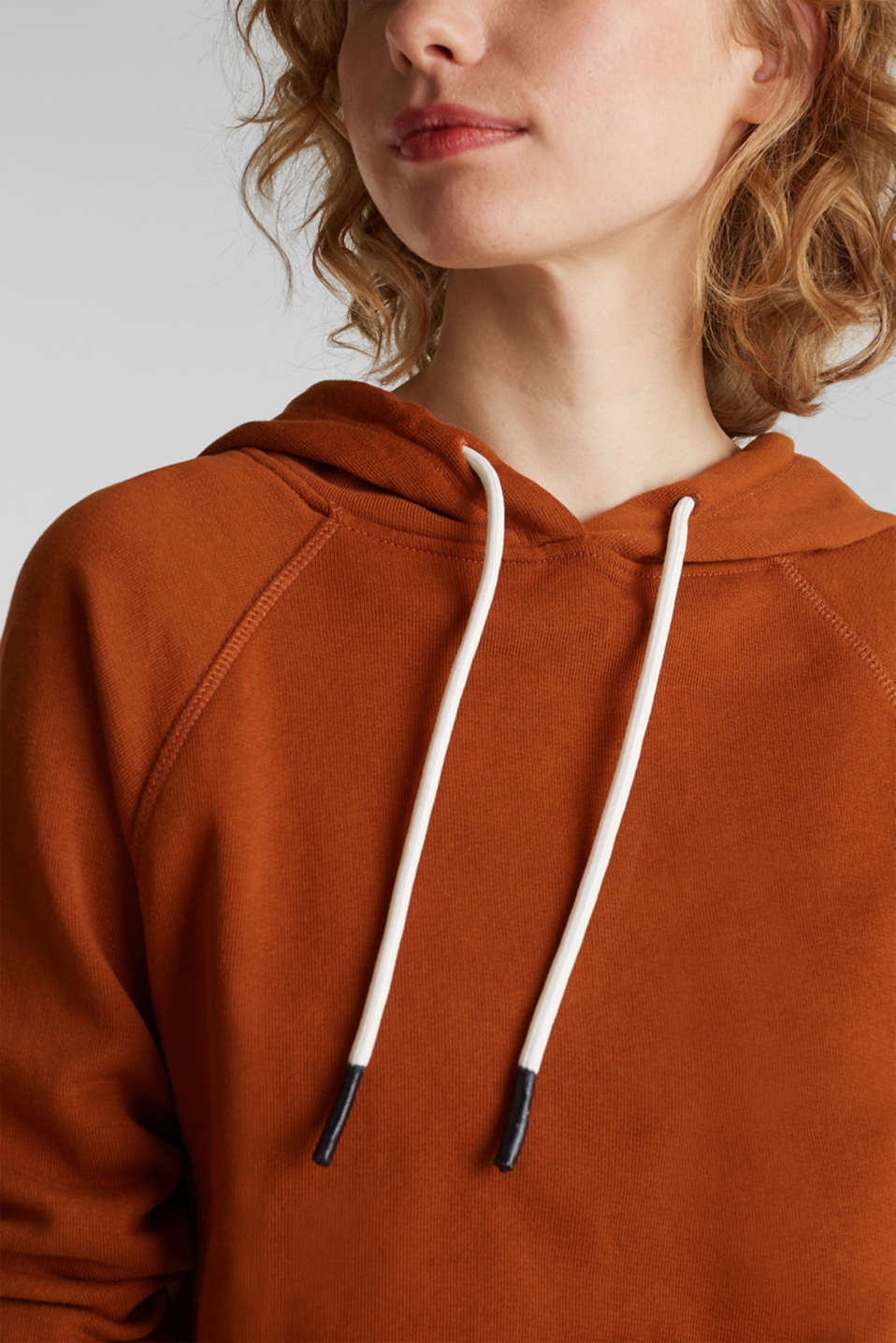 Logo tape detail hoodie, 100% cotton, CINNAMON, detail image number 5