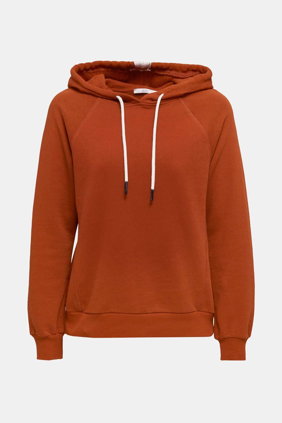 Logo tape detail hoodie, 100% cotton, CINNAMON, detail image number 7