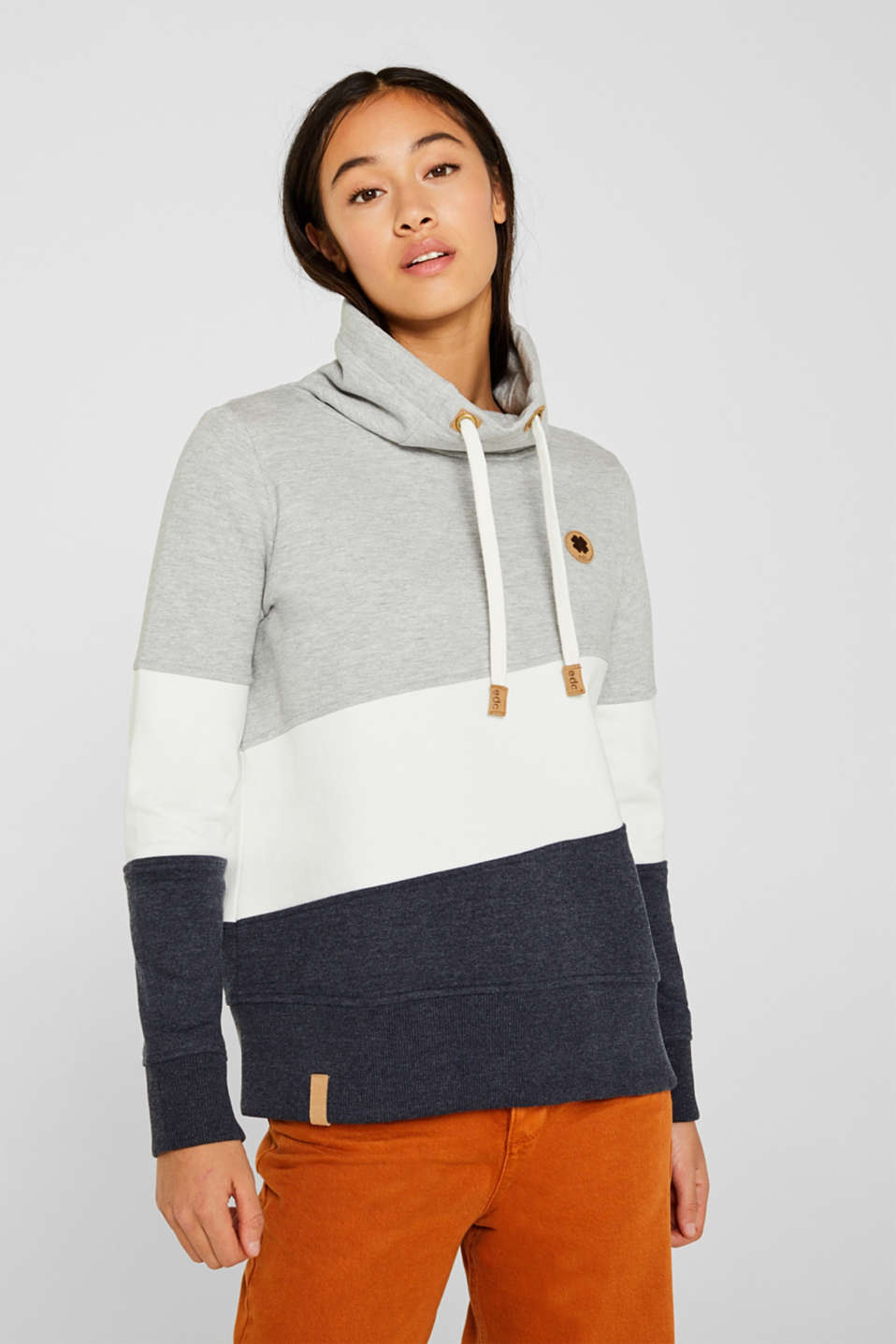 Colour block sweatshirt with a funnel collar, LIGHT GREY 5, detail image number 0