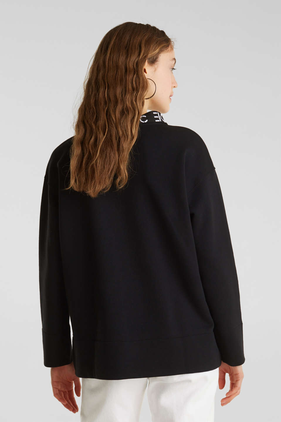 Sweatshirt with a logo on the cuffs, BLACK, detail image number 3