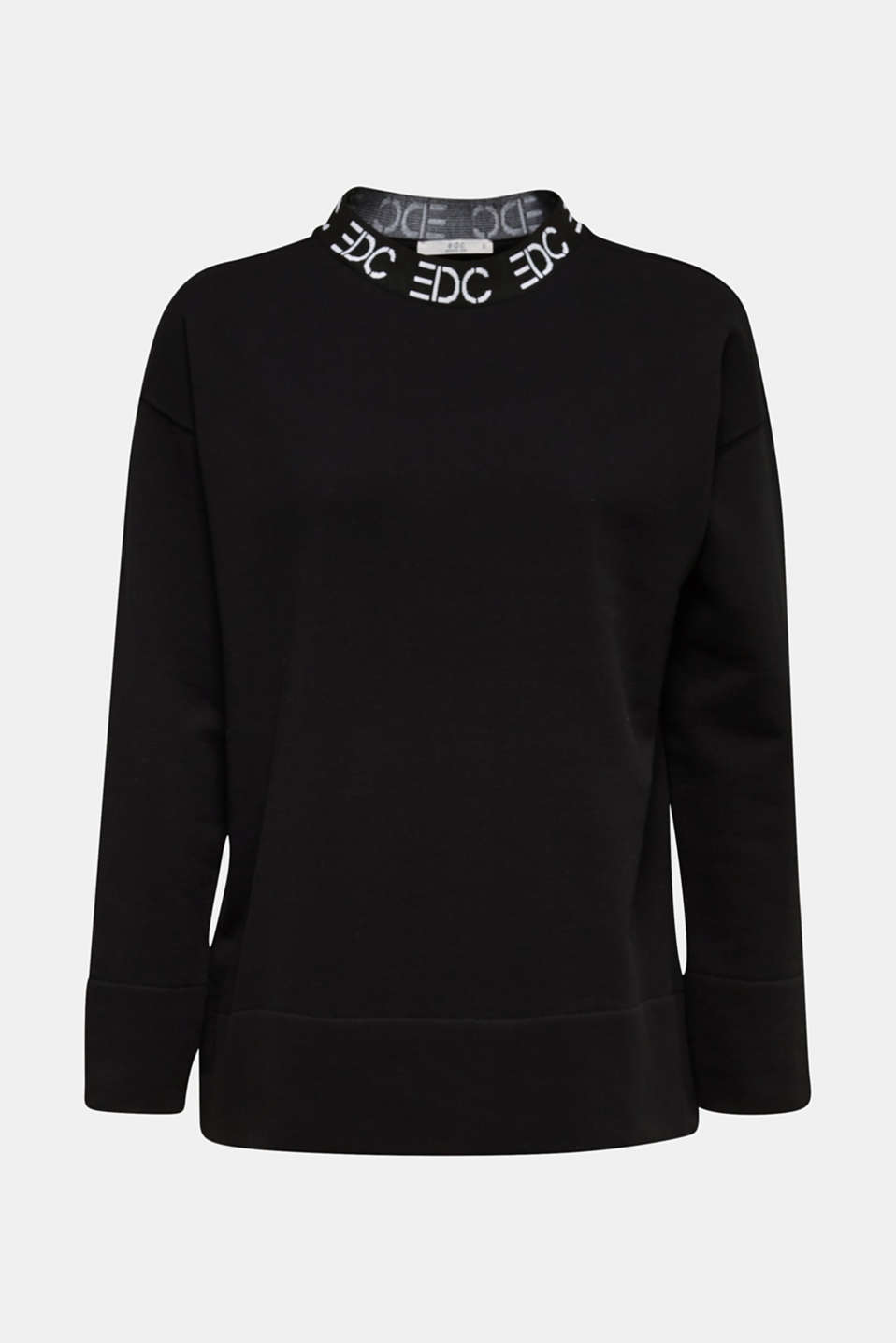 Sweatshirt with a logo on the cuffs, BLACK, detail image number 5