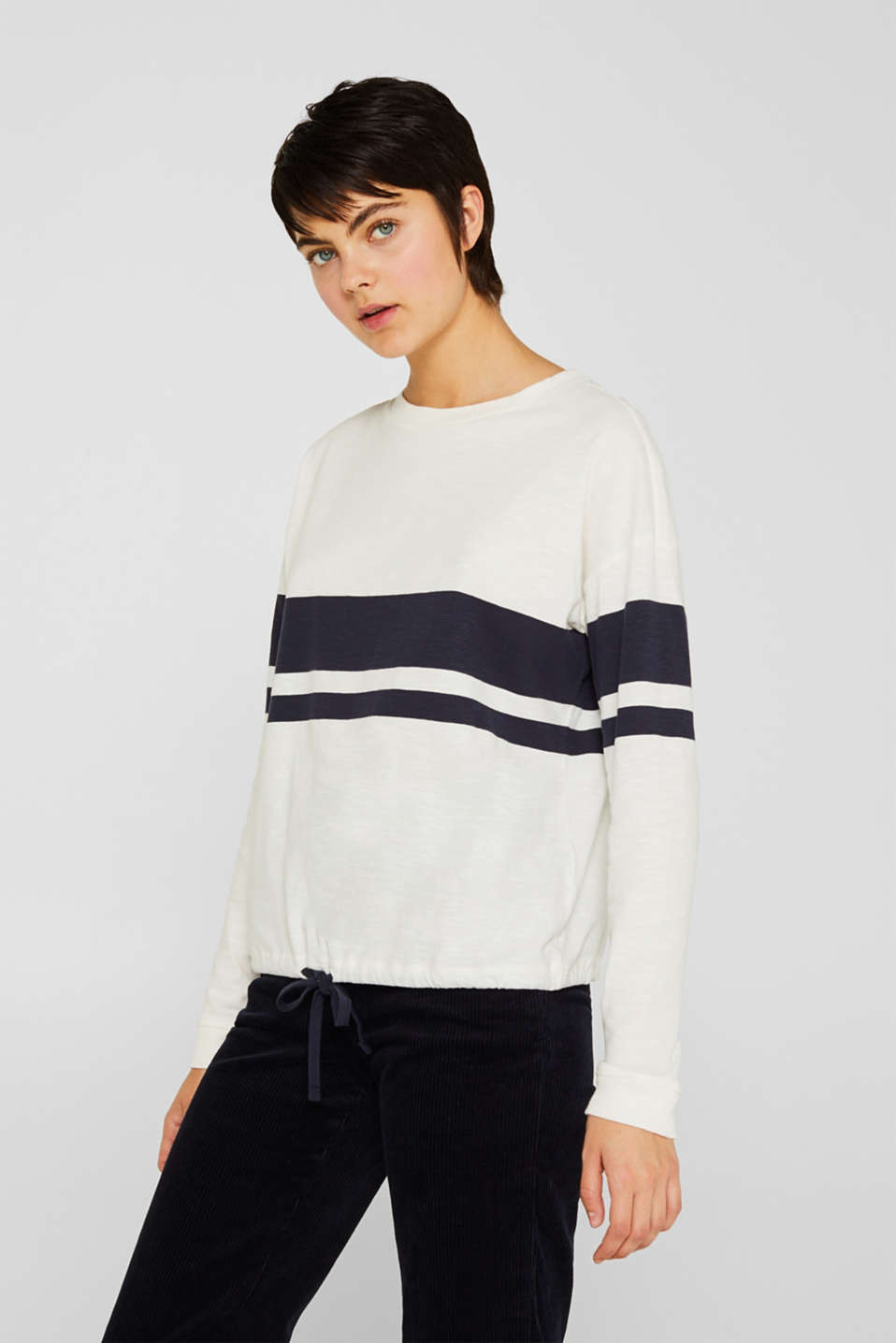 Long sleeve top with block stripes, 100% cotton