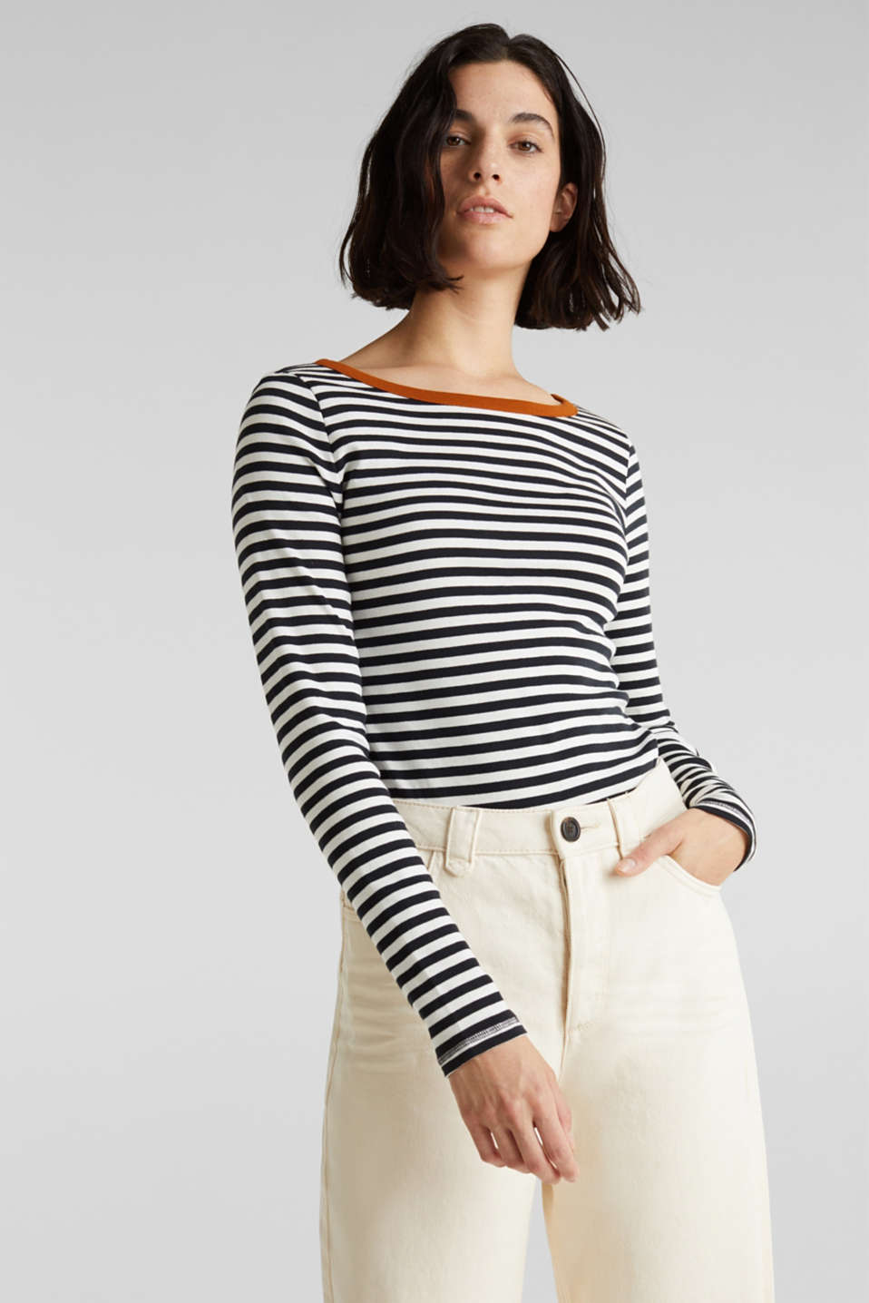 Striped long sleeve top, 100% cotton, BLACK, detail image number 0
