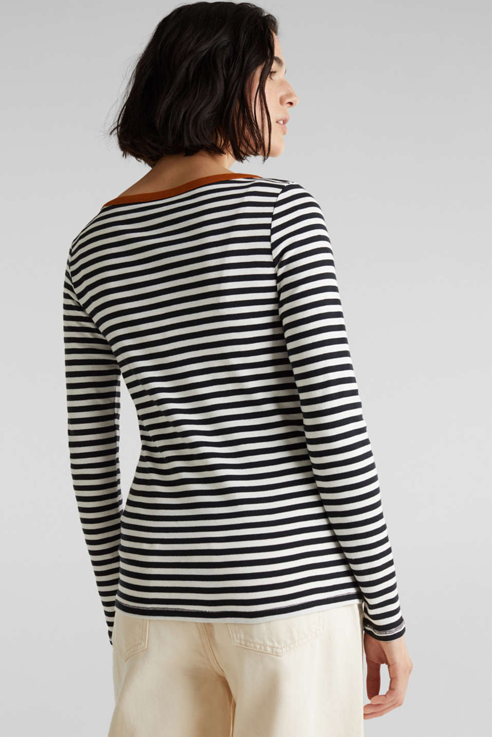 Striped long sleeve top, 100% cotton, BLACK, detail image number 3