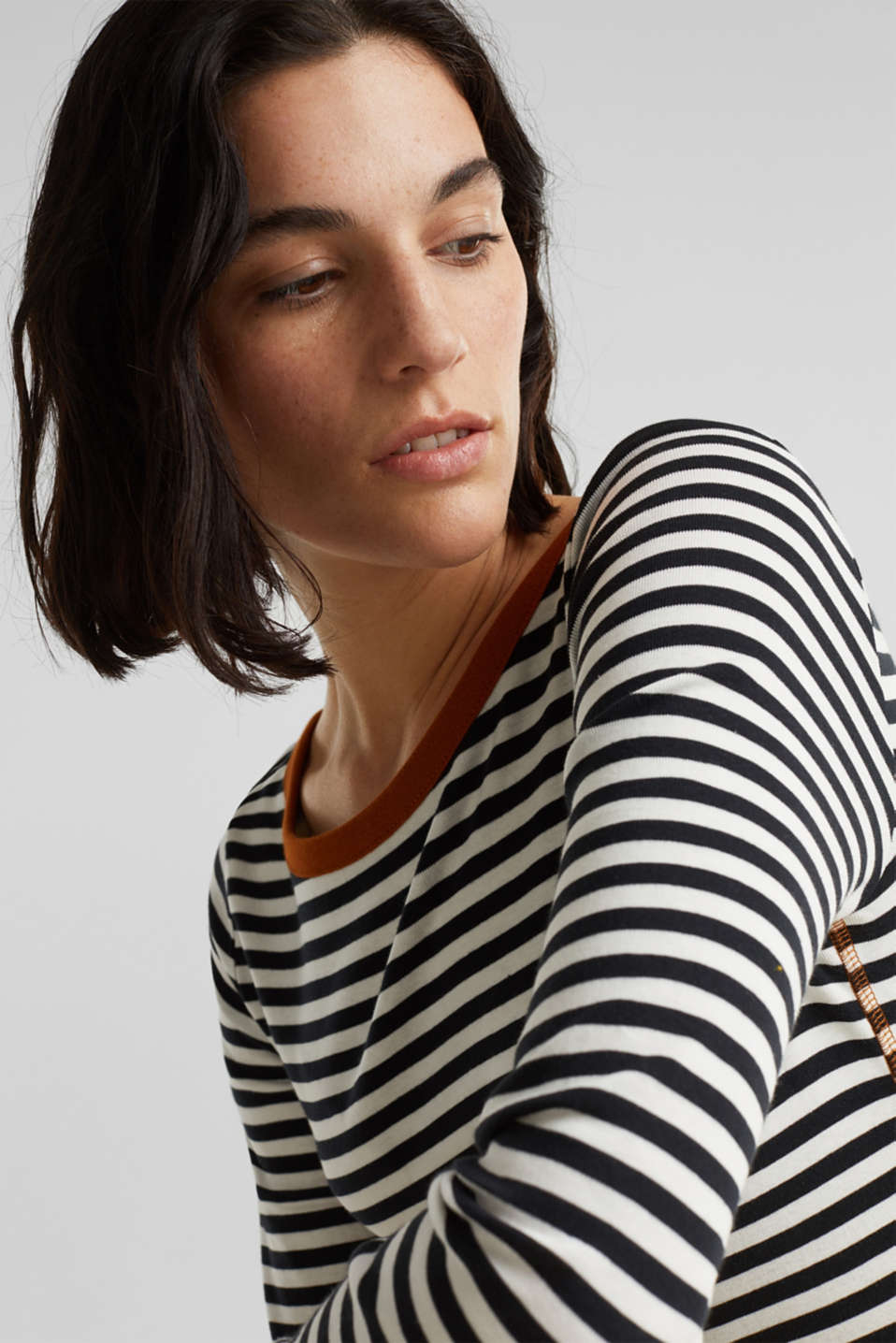 Striped long sleeve top, 100% cotton, BLACK, detail image number 2