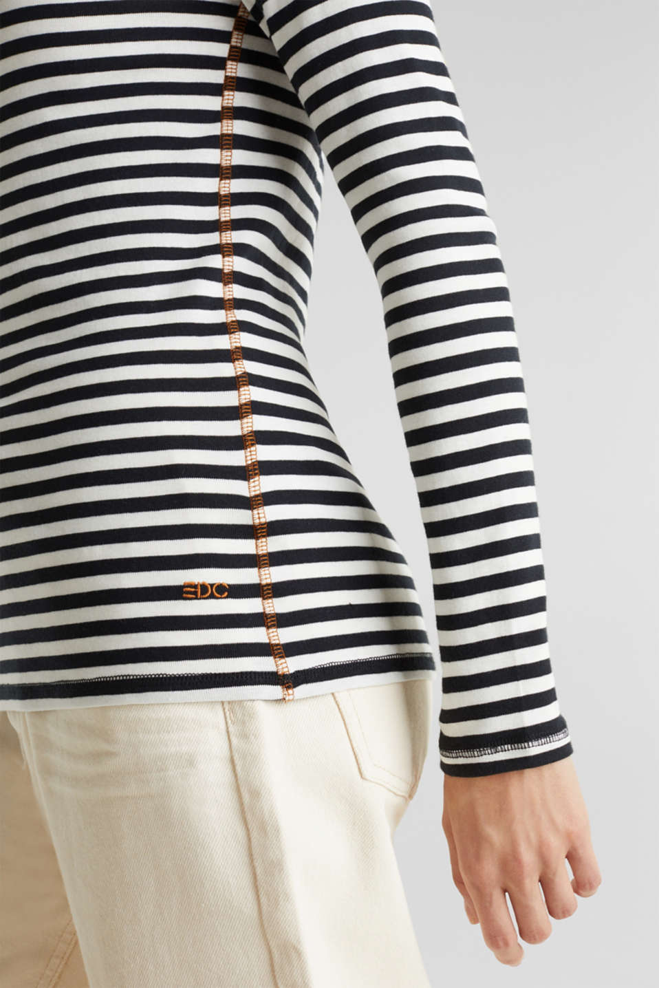 Striped long sleeve top, 100% cotton, BLACK, detail image number 5