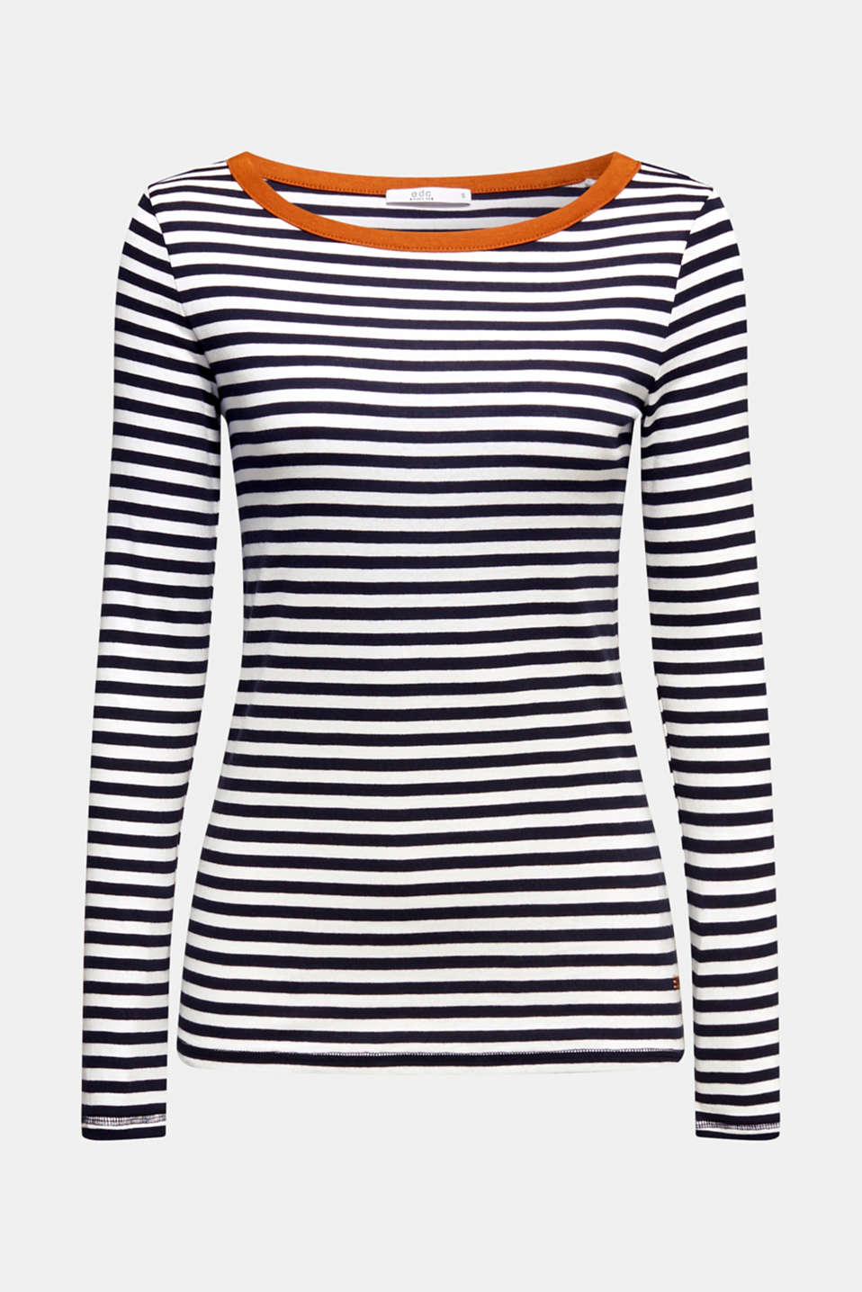 Striped long sleeve top, 100% cotton, BLACK, detail image number 7