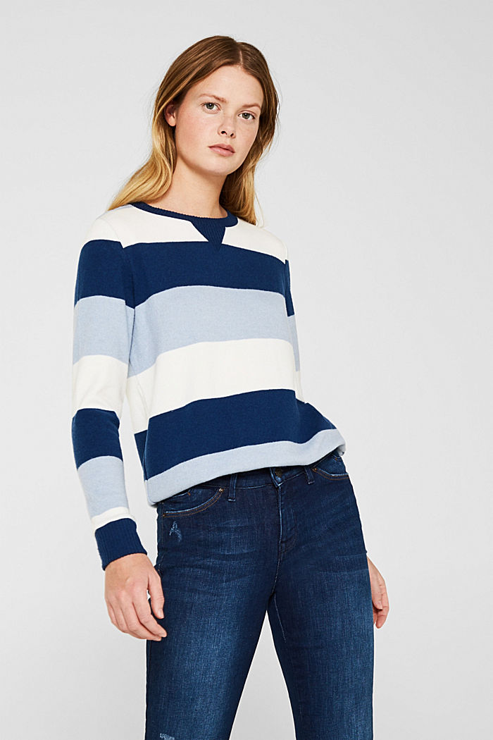 Fluffy long sleeve top with ribbed borders, PASTEL BLUE, detail image number 0