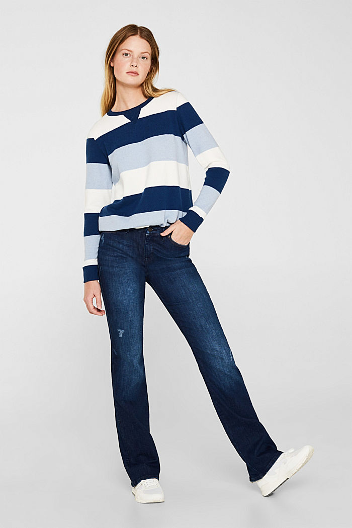 Fluffy long sleeve top with ribbed borders, PASTEL BLUE, detail image number 1