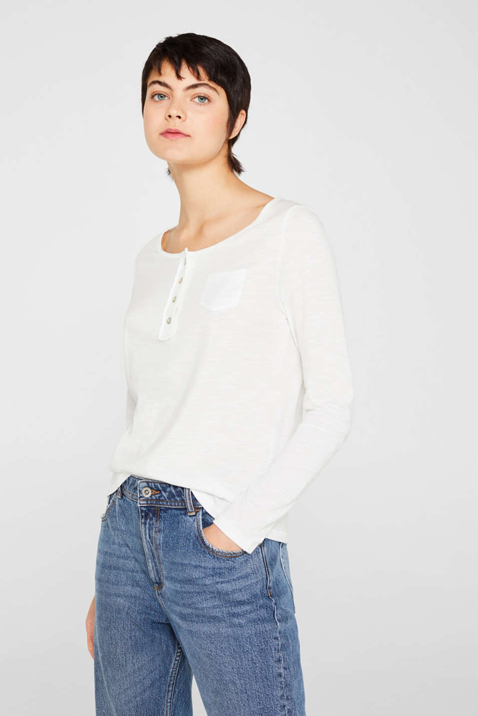 Henley long sleeve top with organic cotton, OFF WHITE, detail image number 0