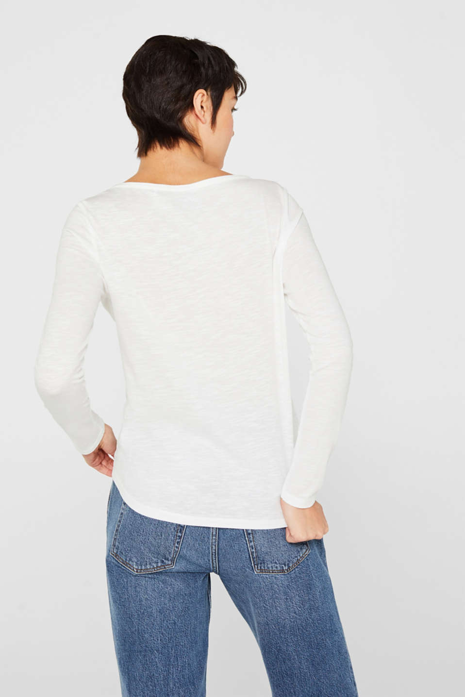 Henley long sleeve top with organic cotton, OFF WHITE, detail image number 3
