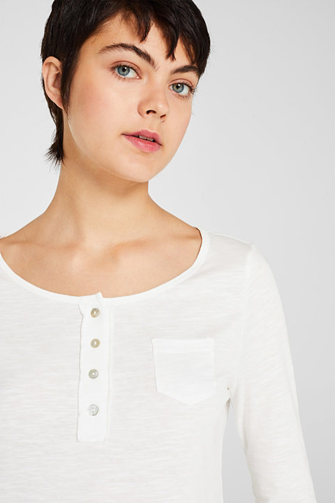 Henley long sleeve top with organic cotton