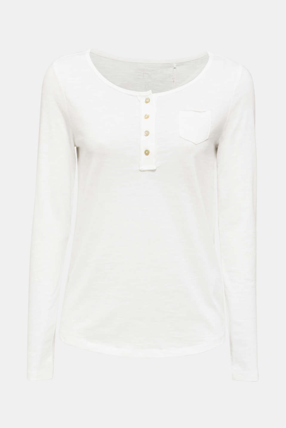 Henley long sleeve top with organic cotton, OFF WHITE, detail image number 6