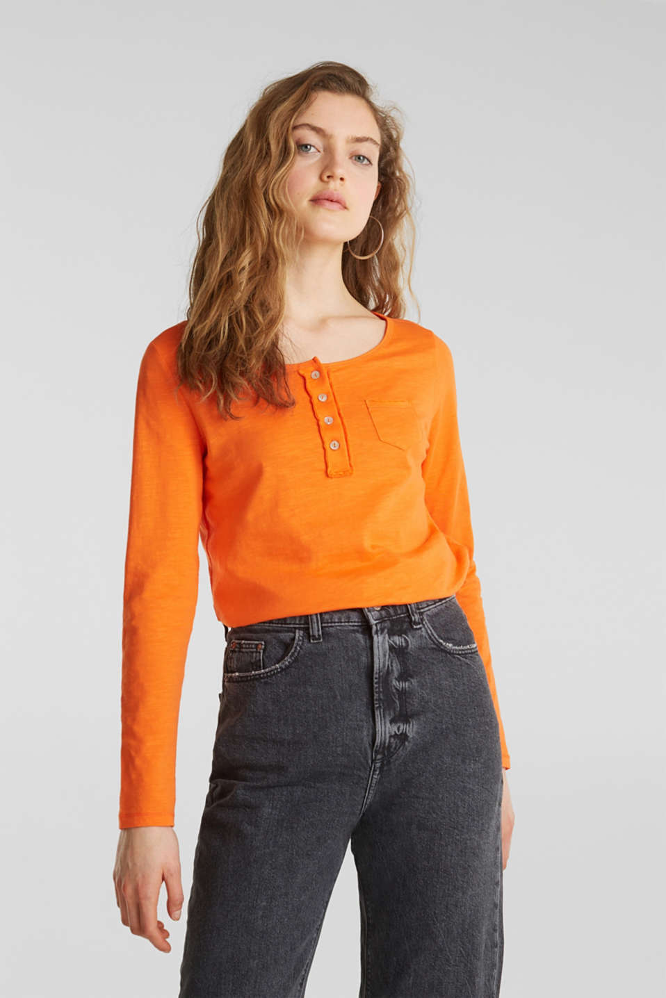 Henley long sleeve top with organic cotton, ORANGE, detail image number 0