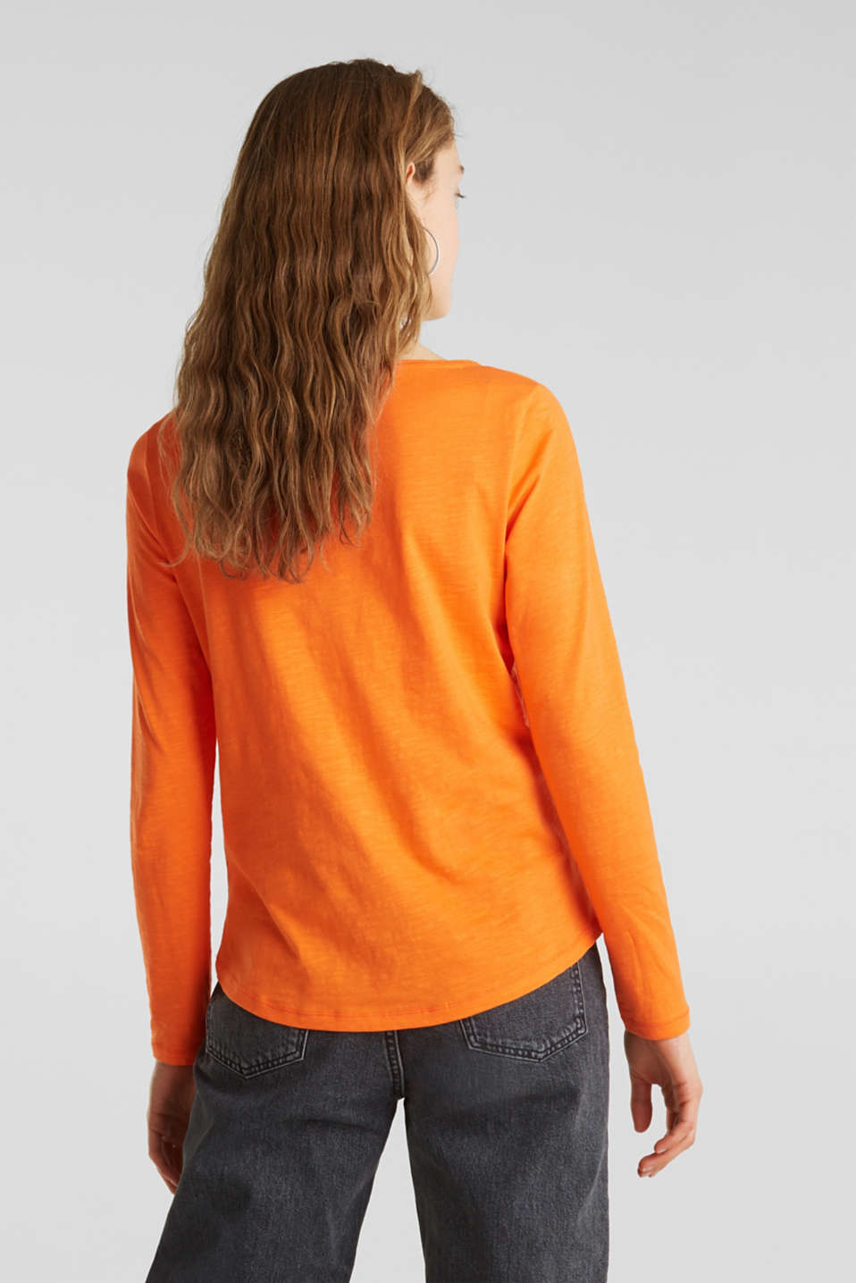 Henley long sleeve top with organic cotton, ORANGE, detail image number 3