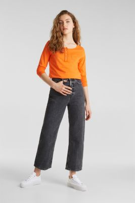 Henley long sleeve top with organic cotton, ORANGE, detail