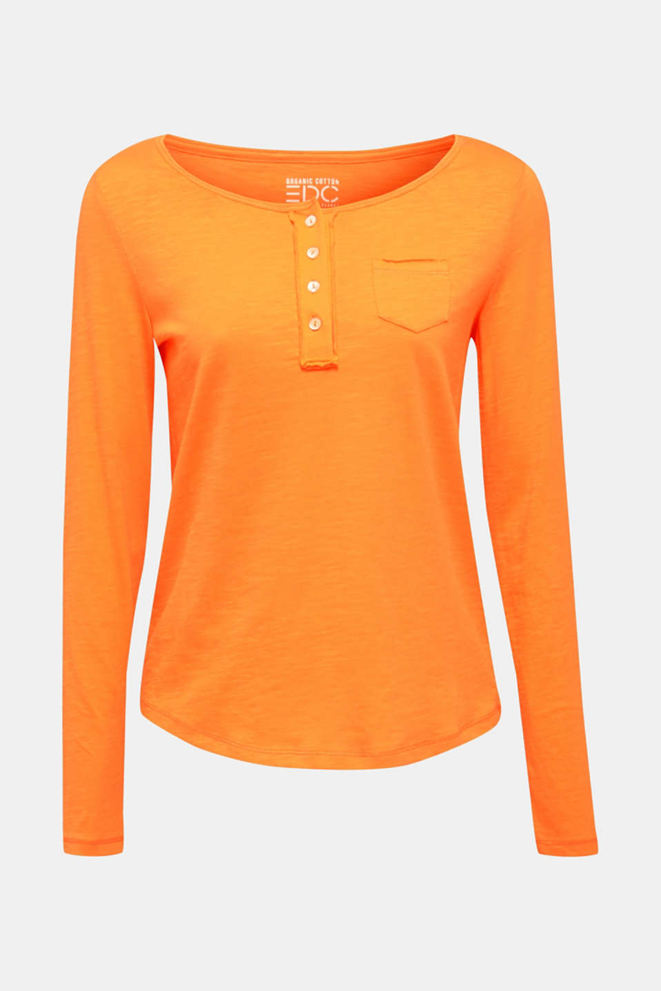 Henley long sleeve top with organic cotton, ORANGE, detail image number 5