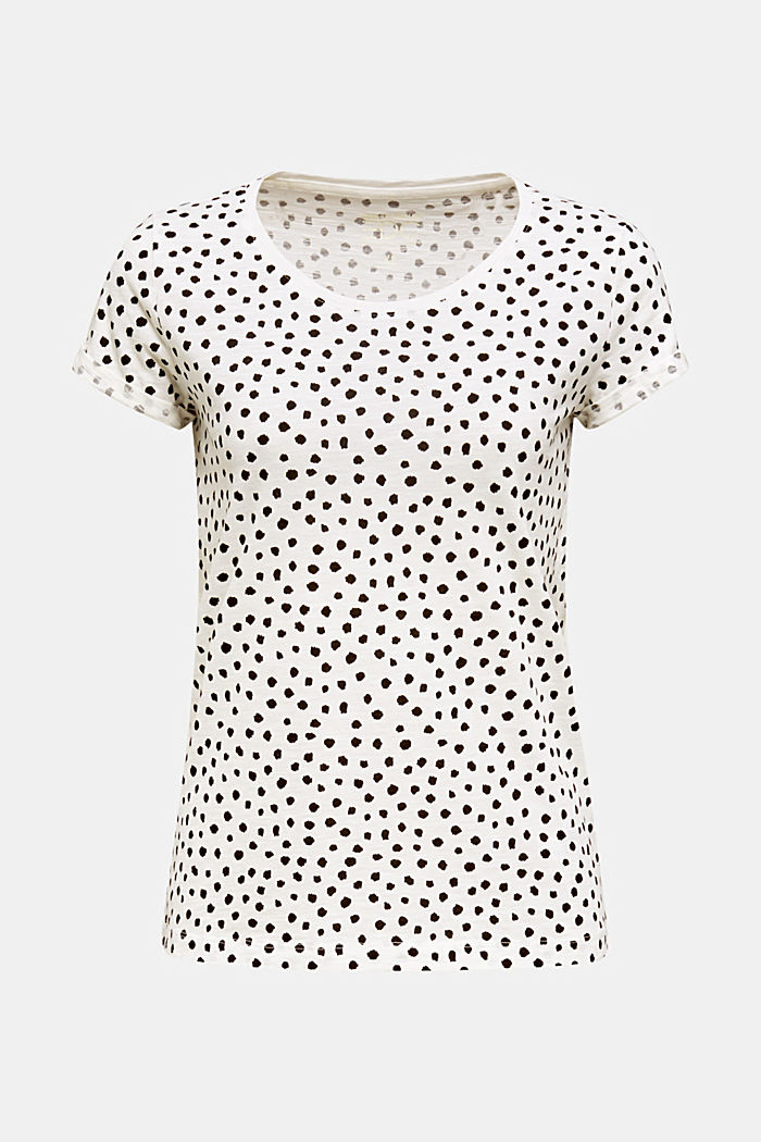 Shirt met print, 100% katoen, OFF WHITE, detail image number 0