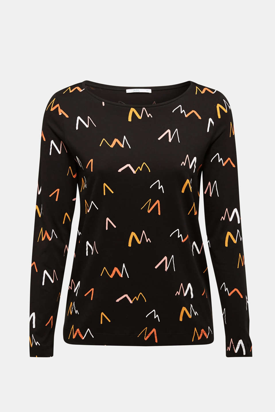 Printed long sleeve top, 100% cotton, BLACK, detail image number 5
