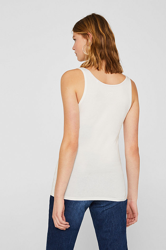 Basic top in stretch cotton, OFF WHITE, detail image number 3