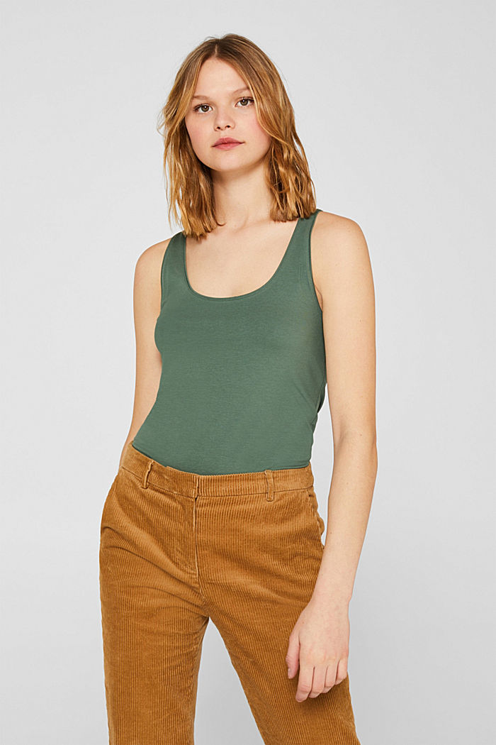 Basic top in stretch cotton, KHAKI GREEN, detail image number 0