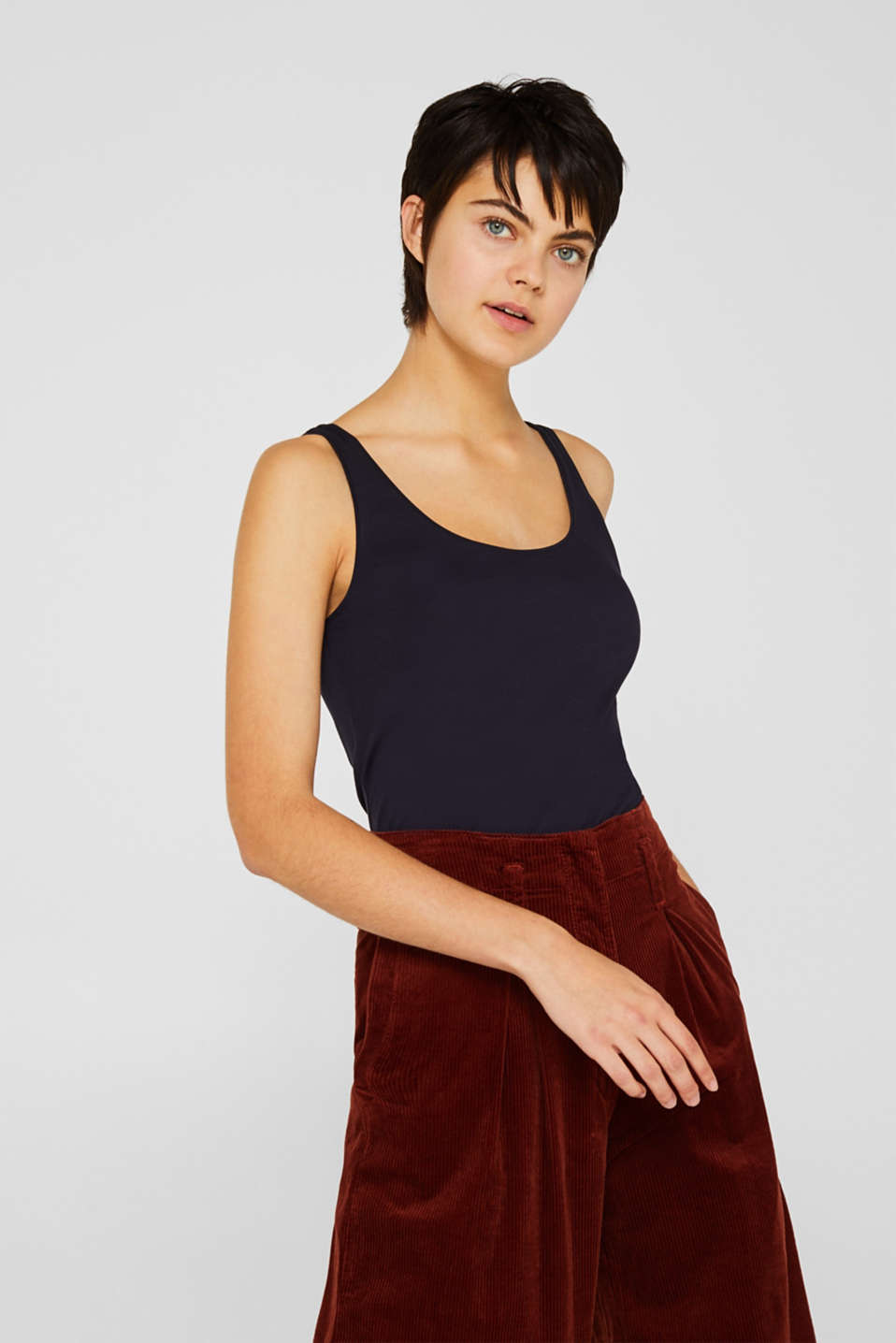 Basic top in stretch cotton, NAVY, detail image number 0