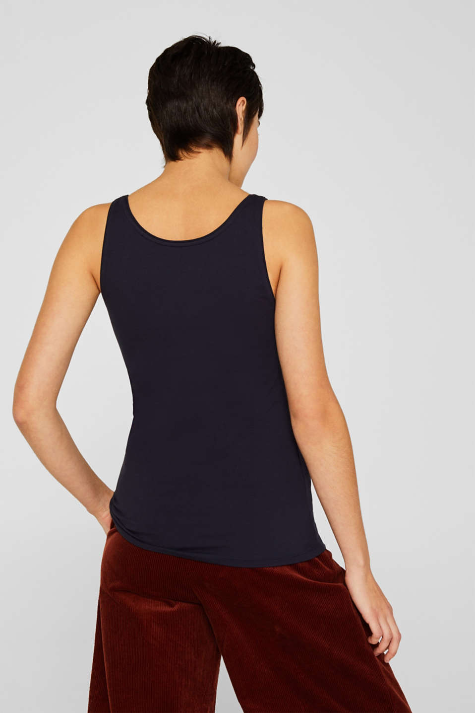 Basic top in stretch cotton, NAVY, detail image number 3